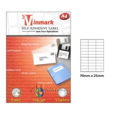 Vinmark Laserjet Label 70mm x 25mm A4